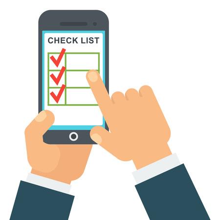 Checklist in smartphone illustration.