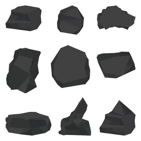Coal stones set.