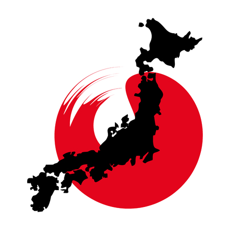 Map of Japan conceptual poster. Travel to the Land of the Rising Sun. Flat vector cartoon illustration. Objects isolated on white background.