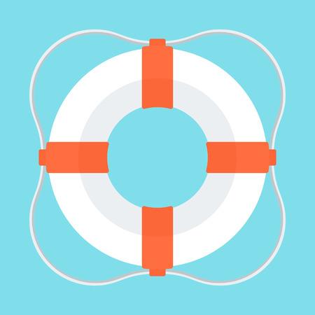 Lifebuoy color icon. Flat vector cartoon illustration. Objects isolated on white background. Illustration