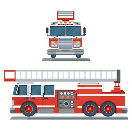 Vector aislado vista frontal y lateral del camión de bomberos rojo. Transporte de motor de rescate de camión de bomberos. Emergencia de bombero. Ilustración de dibujos animados plana. Objetos aislados sobre un fondo blanco.