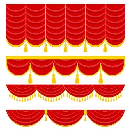 Lambrequin and pelmet for red curtains Stock Illustratie