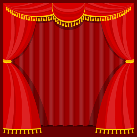 Curtains with lambrequins on the stage Stock Vector - 101851118