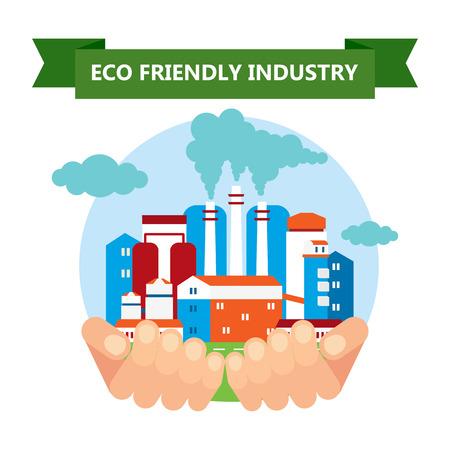 eco friendly industry Illusztráció
