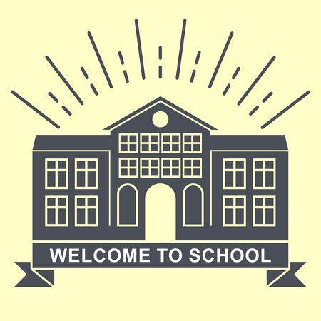 school building retro logo badge