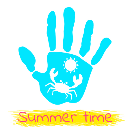 Summertime logo with bright palm for travel and travel. Flat vector cartoon illustration. Objects isolated on a white background.