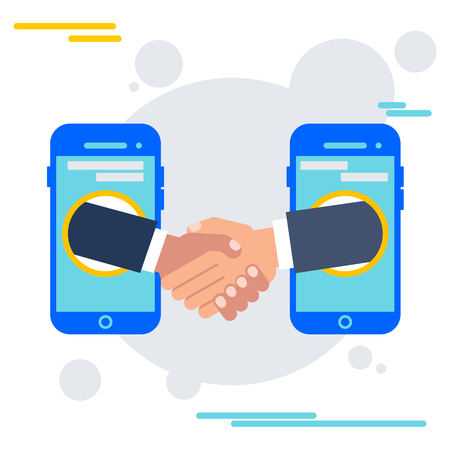 Deal agreement with mobile device. Handshake of businessmen, teamwork and interaction in business. Flat vector cartoon illustration. Objects isolated on a white background. Illustration