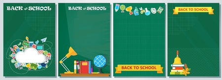 Bright banner with school supplies. Education and schooling. Poster for advertising educational institutions, courses and trainings. Flat illustration
