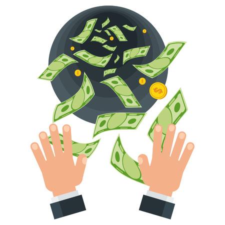 Concepto de pérdida de dinero. Billetes de un dólar volando fuera de las manos. Concepto de un despilfarro descuidado de quiebra de dinero, desperdicio. Ilustración de dinero de dibujos animados vector plano. Objetos aislados sobre un fondo blanco.