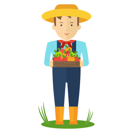 Apple picking. Farmer man in the garden with boxes of apples in his hands. Farmers characters. Flat vector cartoon illustration. Objects isolated ongreen background.