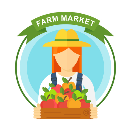 Apple picking logo, woman with apple. Farmers characters. Flat vector cartoon illustration. Objects isolated ongreen background. Stockfoto - 112129438