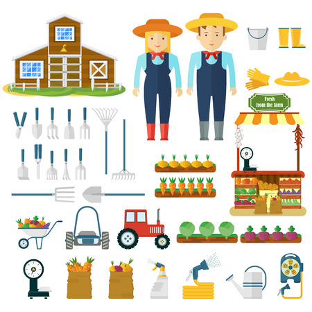 Garden tools, machinery for harvesting and farmers character. Vegetables and fruits in the garden. Flat vector cartoon illustration. Objects isolated on a white background.