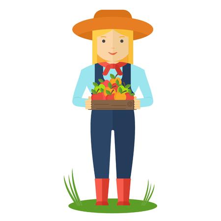 Apfel pflücken. Bauernfrau im Garten mit Kisten mit Äpfeln in seinen Händen. Bauerncharaktere. Flache Vektorkarikaturillustration. Objekte isoliert auf grünem Hintergrund.