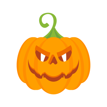 Halloween party character orange pumpkin with burning evil eyes. Design elements for advertising and promotion. Flat cartoon illustration. Objects isolated on white background.