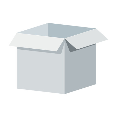 Big white open box template. Packaging for gifts, parcels, various goods. Flat vector cartoon illustration. Objects isolated on a white background.