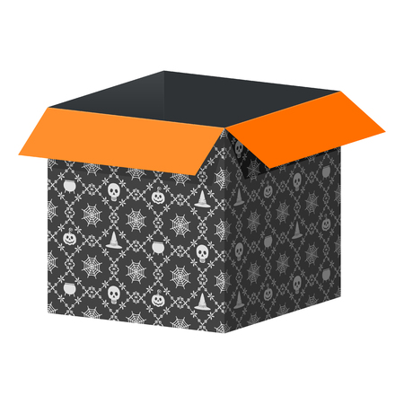 Big open black box template with Halloween pattern. Packaging for gifts, parcels, various goods. Flat vector cartoon illustration. Objects isolated on a white background. Иллюстрация