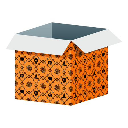 Big open orange box template with Halloween pattern. Packaging for gifts, parcels, various goods. Flat vector cartoon illustration. Objects isolated on a white background.