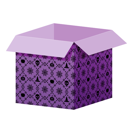 Big open violet box template with Halloween pattern. Packaging for gifts, parcels, various goods. Flat vector cartoon illustration. Objects isolated on a white background.