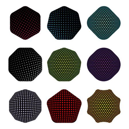 Set of black badge shape with hakftone pattern. Vecteurs
