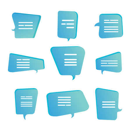 Abstract cartoon shape speech talking cloud, quote box set. Template quote bubbles or statements or comments with space for text in a flat style.