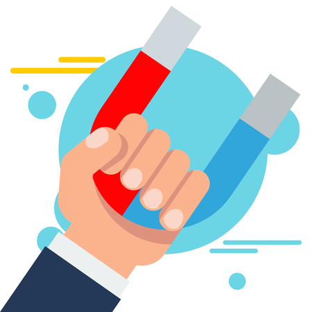 Hand of a businessman with a magnet. Attraction and retention of customers, increasing loyalty, support and service. Flat vector cartoon illustration. Objects isolated on white background.