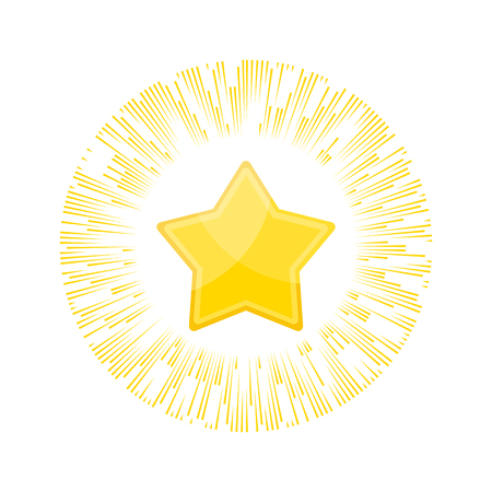 Gold star rating in rays of glory. Appreciation and recognition, praise and highest reward. Competitions, lottery and gambling. Flat vector cartoon illustration. Objects isolated on white background.