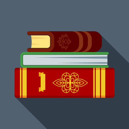 Stack of old magical books in thick leather bindings. Flat vector illustration for parties on the theme of divination, witchcraft and magic, for Halloween. Иллюстрация
