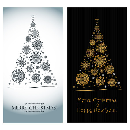 Golden snowflakes in the form of a Christmas tree on a black abstract background. Vertical Luxurious stylish minimalistic Christmas card for Xmas and New Year.