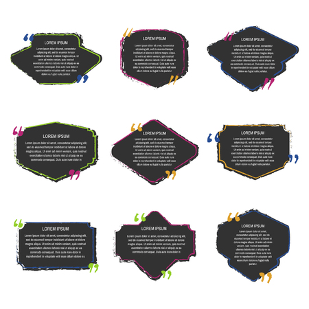 Black grunge quote box set on white background. Templates quote bubbles or statements or comments with space for text in a flat style.