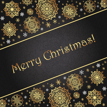 Elegant luxurious greeting card for Christmas and New Year. Golden snowflakes on a black gradient background. Fashion Trend minimalistic abstract style.