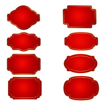 Ensemble de forme d'insigne rouge. Trophée et récompense, compétition et victoire