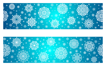 White snowflakes on a red abstract background. Stylish minimalistic Christmas card for Xmas and New Year.