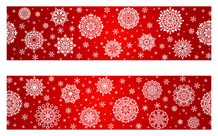 White snowflakes on Christmas decoration border on blue background. Greeting card for Christmas and New Year.