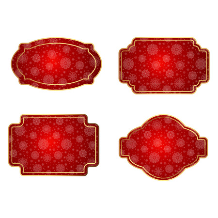 Luxurious bright labels, tags and badges for decoration of promotional sales and discounts for the new year and Christmas Ilustrace