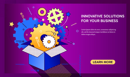 Outside the box landing page. Innovation, ideas and brainstorming for start-ups and business development. Flat vector cartoon illustration. Objects isolated on a white background.
