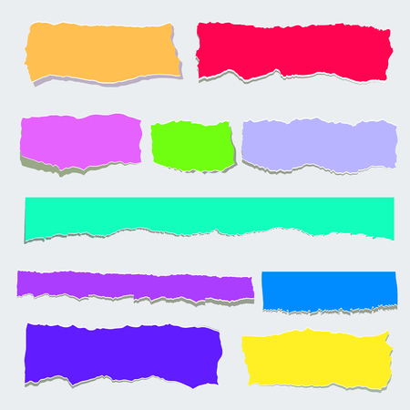 Scrap paper color set. Torn pieces of color sheet, lower thirds. Flat vector cartoon illustration. Objects isolated on transparent background. Standard-Bild - 110113274