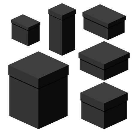 Set of isometric black boxes of different sizes for packaging, gifts, transportation of goods. Flat vector cartoon illustration. Objects isolated on a white background.