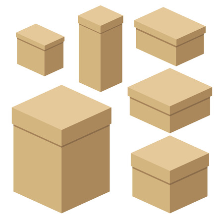 Set of isometric craft boxes of different sizes for packaging, gifts, transportation of goods. Flat vector cartoon illustration. Objects isolated on a white background.
