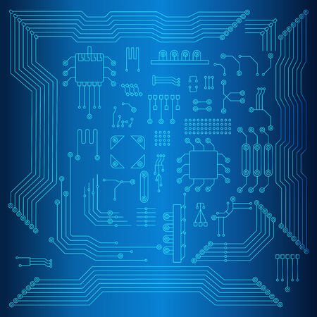 Circuit board vector background. Set of elements of computer chip. Flat vector cartoon illustration. Objects isolated on blue background.