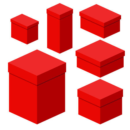 Set of isometric red boxes of different sizes for packaging, gifts, transportation of goods. Flat vector cartoon illustration. Objects isolated on a white background.