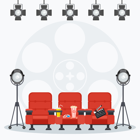 Auditorium and red comfortable armchairs in the cinema under spotlight. Drinks and popcorn, glasses for movie Flat vector cartoon illustration. Objects isolated on a white background.