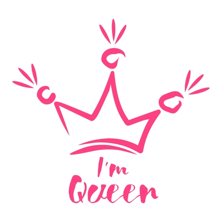 Royal crown drawn by hand in the style of doodle. I am queen. Element for drawing greeting cards, promotional items for girls and women.