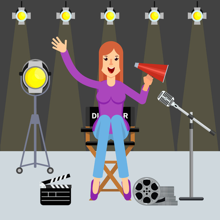Woman film director on the set. Videoproduction and filmmaking. Flat cartoon illustration. Objects isolated on white background.
