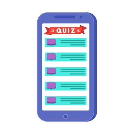 Mobile quiz application on the smartphone screen. Chat with questions and puzzles. Developing, teaching or entertaining program for mobile devices. Vector concept against white background Illustration