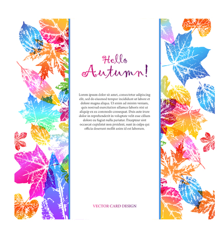 Light card with text hello autumn with leaf prints in bright trendy gradient colors. Vector design elements for the design of postcards, promotional leaflets, autumn sales.
