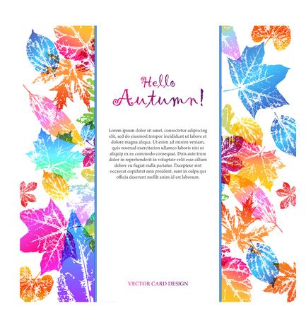 Tarjeta de luz con texto hola otoño con estampados de hojas en colores degradados de moda brillantes. Elementos de diseño vectorial para el diseño de postales, folletos promocionales, rebajas de otoño.