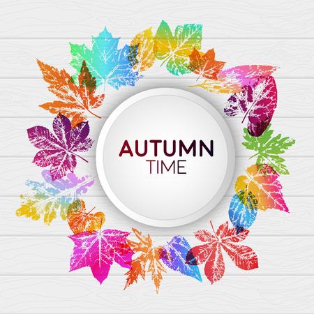 Tiempo de otoño de tarjeta de luz abstracta con impresiones de hojas en colores degradados de moda brillantes. Elementos de diseño vectorial para el diseño de postales, folletos promocionales, rebajas de otoño.