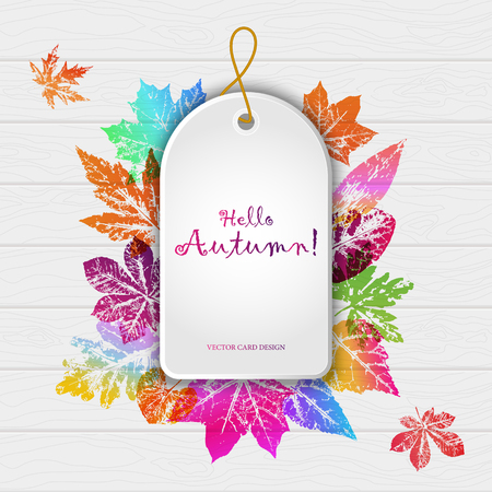 Abstract light card autumn time with leaf prints Imagens - 109398038