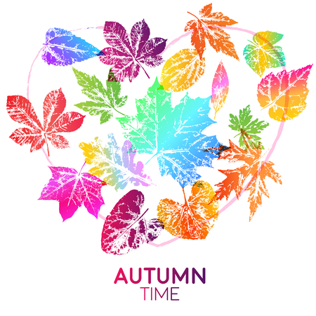 Light card autumn time with leaf prints in bright trendy gradient colors. Vector design elements for the design of postcards, promotional leaflets, autumn sales. Illustration