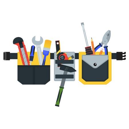 Gürtel mit Werkzeugen. Begriffsbild von Werkzeugen für Reparatur, Bau und Baumeister. Konzeptbild der Arbeitskleidung. Flache Vektorillustration der Karikatur. Objekte auf einem Hintergrund isoliert.